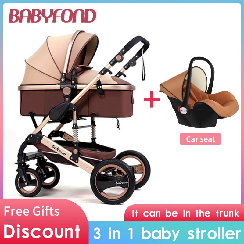 Belecoo stroller Multifunctional 3 in 1 Baby Stroller High Landscape Newborn carriage Folding Baby Carriage Gold Baby Pram