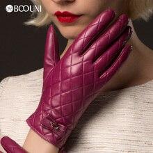 BOOUNI Genuine Leather Gloves Women Fashion Plaid Real Sheepskin Glove Winter Thicken Warm Five Finger Driving Gloves NW691