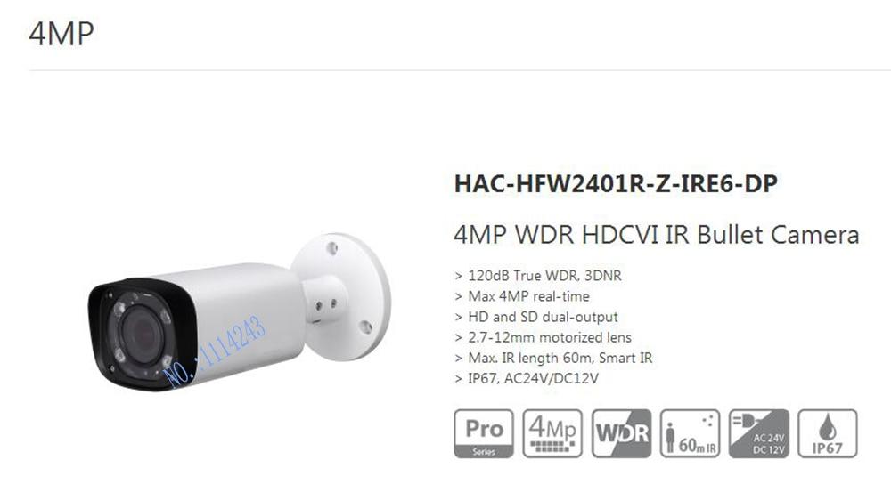free shipping dahua cctv 4mp wdr hdcvi ir bullet camera