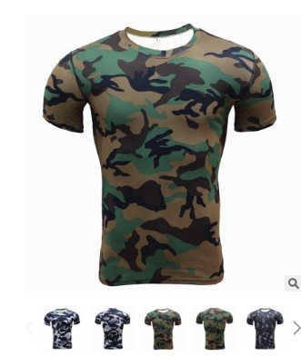 Summer Compression Camouflage Casual Shirt Fitness Men Short Sleeve Tights Bodybuilding Crossfit Flash Camo Protective Clothing