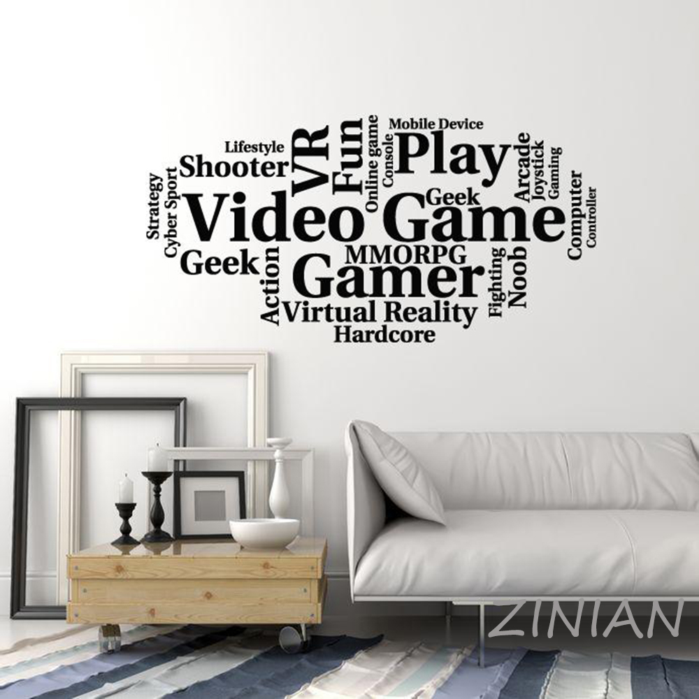 Gamers Wall Art Stickers Gamer Silhouette Gaming Decals Games Room Decorations