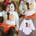 Ação de graças Bonito Algodão Outono Infantil Crianças Roupa do Menino Da Menina Do Bebê Abóbora Sunsuit Bodysuit Romper Roupas 0-12 M