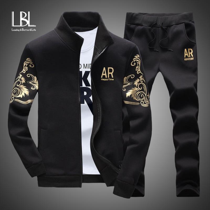 Men's Sportswear Sets 2019 Spring Autumn Male Casual Tracksuit Men 2 Piece Zipper Sweatshirt + Sweatpants Brand Track Suit Set