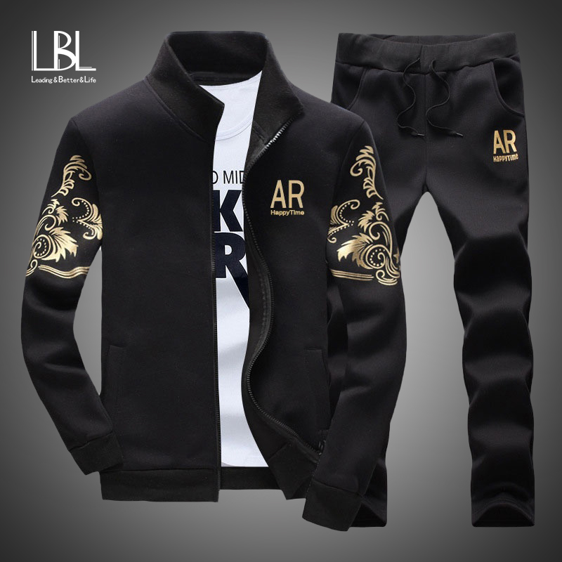 Men's Sportswear Sets 2020 Spring Autumn Male Casual Tracksuit Men 2 Piece Zipper Sweatshirt + Sweatpants Brand Track Suit Set