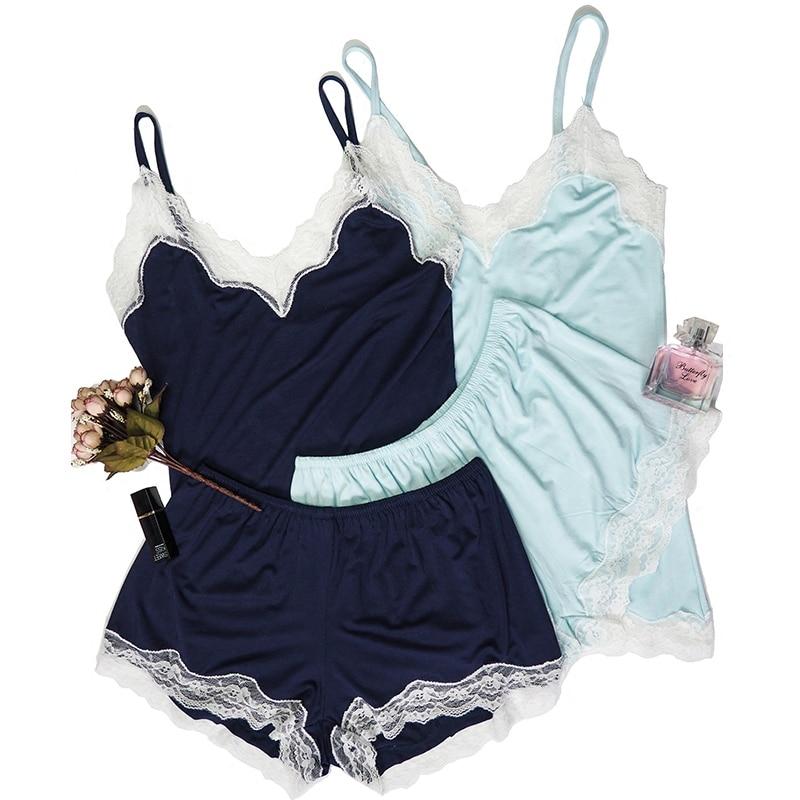 CINOON pajamas Sexy Women's lingerie soft nightwear Comfortable shorts Lounge Home set Lace Ladies Sleepwear Cotton Pajama Suit