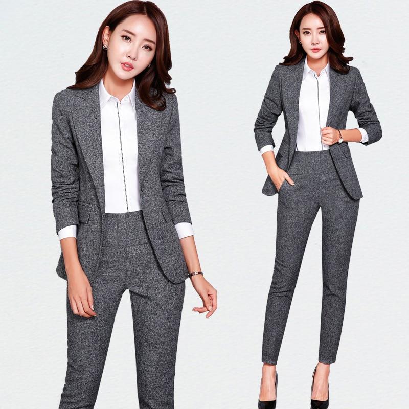 Новый Пиджаки для женщин, простой Для женщин Брюки для девочек Костюмы 2 из двух частей Наборы для ухода за кожей длинный тонкий куртка и Брю...