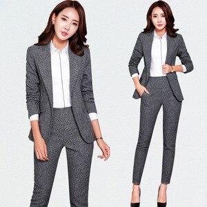 Nieuwe Blazers Pak Effen Eenvoudige Vrouwen Broek Suits 2 Tweedelige Sets Lange Slanke Jas & Broek Vrouwelijke Hoge kwaliteit zakelijke kleding een