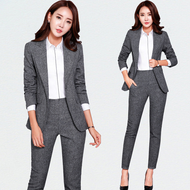 Nuovo Blazers Vestito Solidi Semplici Donne Pantaloni Vestiti 2 Due Pezzi  set Lungo Sottile Giacca e c5a2de04eb4
