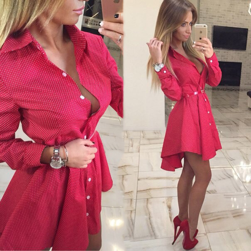 2016 summer new fashion women sexy shirt dress casual long sleeved V-neck asymmetrical dresses dot print mini Vestidos No Belt