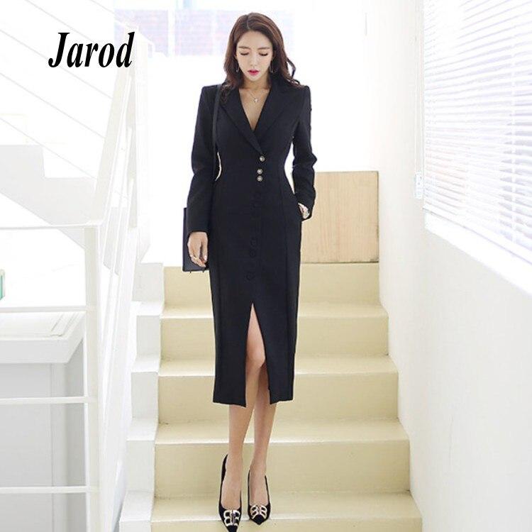 2018 automne hiver entreprise formelle noir simple boutonnage travail robe bureau crantée moulante gaine Slim femmes Split robe