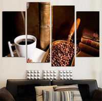 4 Pcs Coffee Large Wall Art Picture Top rated Canvas Print Painting For Living Room Decoration Home Picture Unframed Paintings