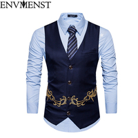 Envmenst 2018 New Brand Dress Vests For Men Slim Fit Mens Suit Vest Male Waistcoat Homme Casual Sleeveless Formal Jacket