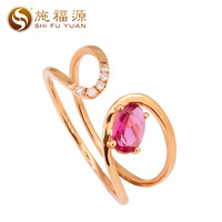 Solid 18k rose gold natural H/SI 0.036ct diamond with pink tourmaline half open mouth adjustable ring Trendy style