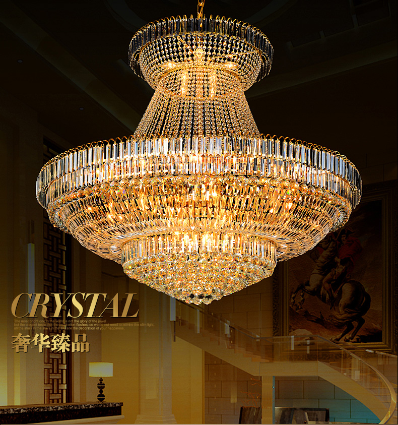 Led modern gold crystal chandeliers lights fixture round crystal droplight home indoor hotel restaurant big crystal lamp d140cm in chandeliers from lights