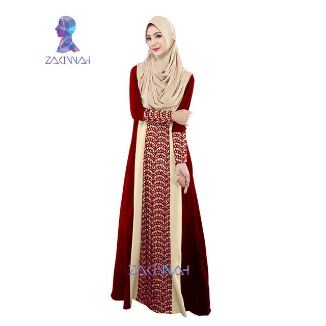 A002 Último diseño colorido musulmán vestido de dos colores empalmados vestido largo de encaje y satén abaya en dubai abaya en dubai