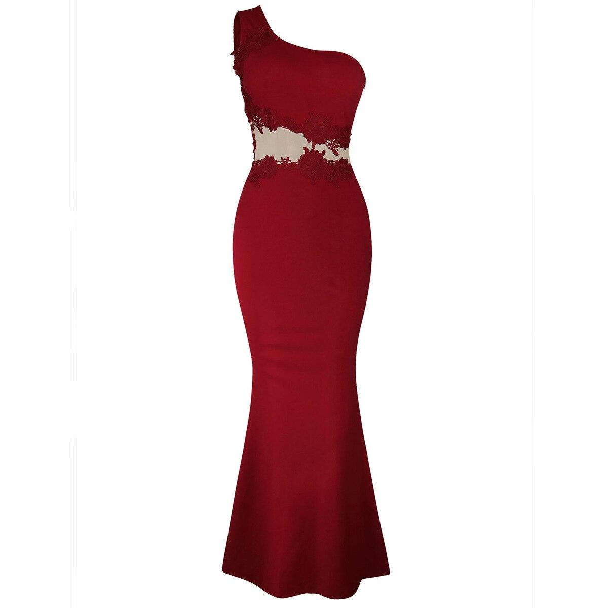 Oxiuly élégant bourgogne longue robe formelle fête élégante une épaule Sexy robe De bal robe De sirène robe De Festa