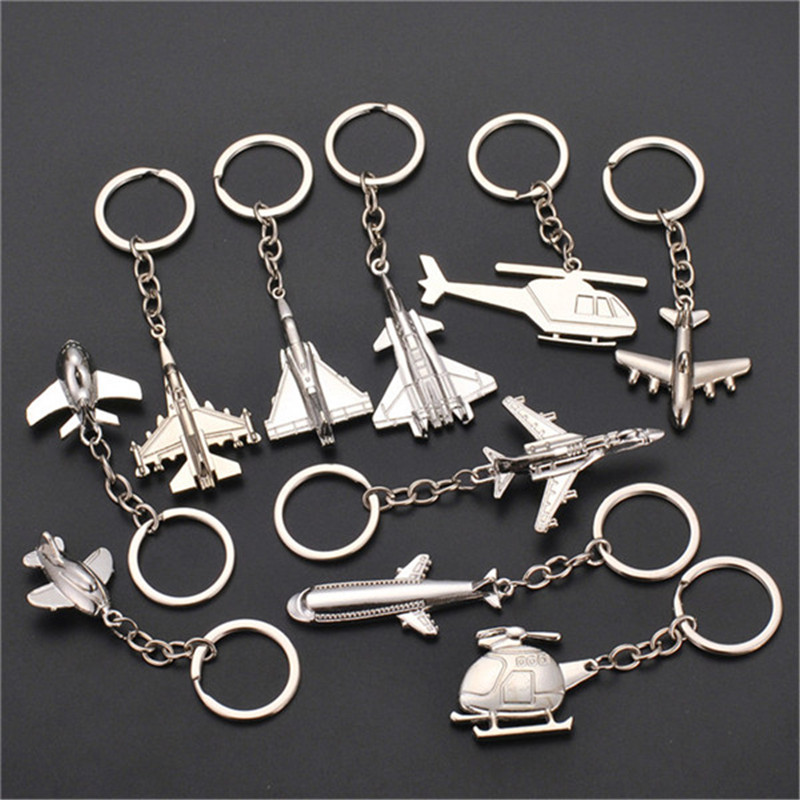 Aircraft helicopter KeyChain Metal Alloy Fly transport Fighter Thief Classic Movies Key Rings Pendants Toys for Children