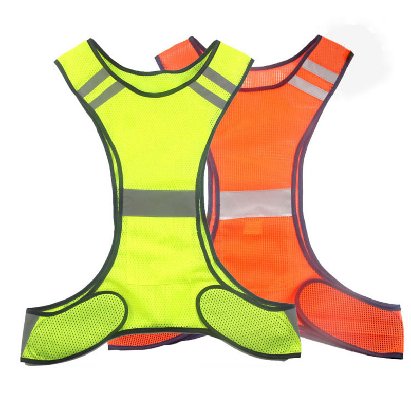 Reflective Safety Vest Night Outdoor Sport Vest Running Riding Reflective Security Tops Clothing Lightweight Breathable Vests reflective vest antistatic clothing gas station factory work safety clothes breathable grid tops vest static resistance workwear