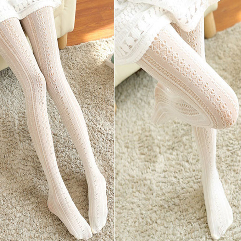 New Sexy Women Lace Tights Hollow Out Female Silk Stockings Thin Women Pantyhose Tattoo Net Hosiery Tights Pattern Collant Femme