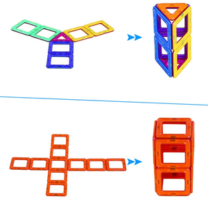 Image 3 - 54pcs Big Size Magnetic Building Blocks Triangle Square Brick designer Enlighten Bricks Magnetic Toys Free Stickers Gift