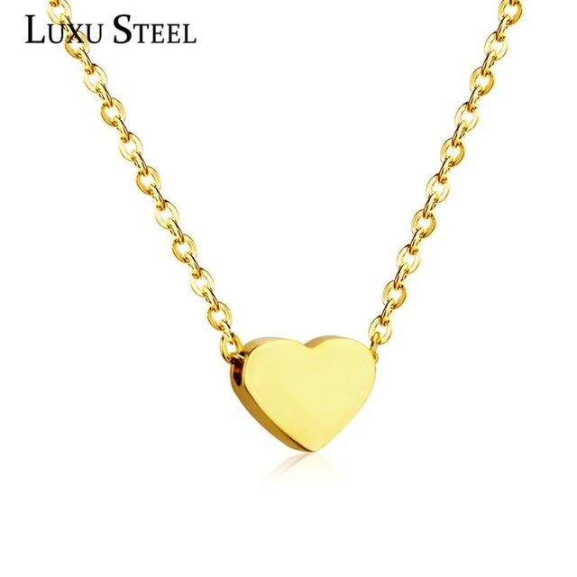 d2aa96f86723 LUXUSTEEL Día de San Valentín corazón colgantes collares de acero inoxidable  Cadena de Color oro