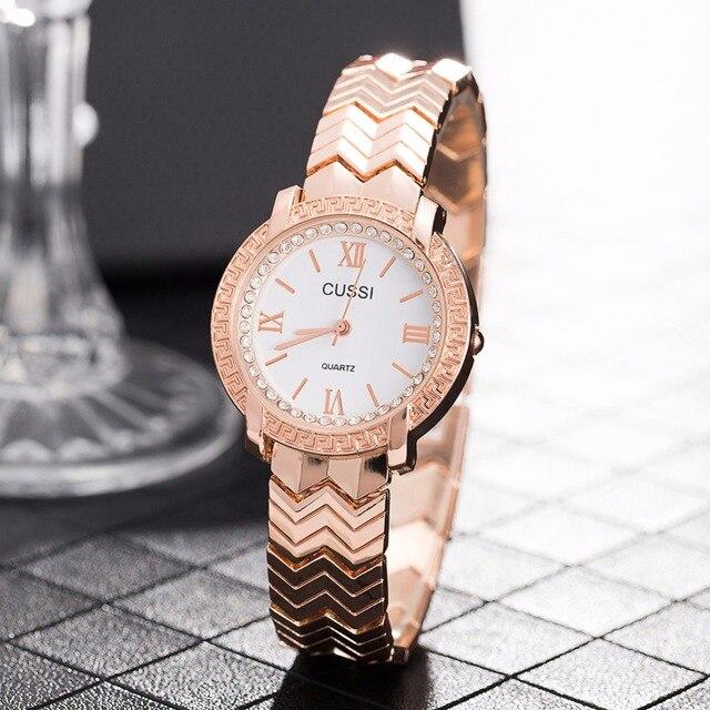 CUSSI 2018 Womens Watches Golden Luxury Ladies Bracelet Watch Quality and Stylish Quartz Wristwatch reloj mujer Valentine's Gift