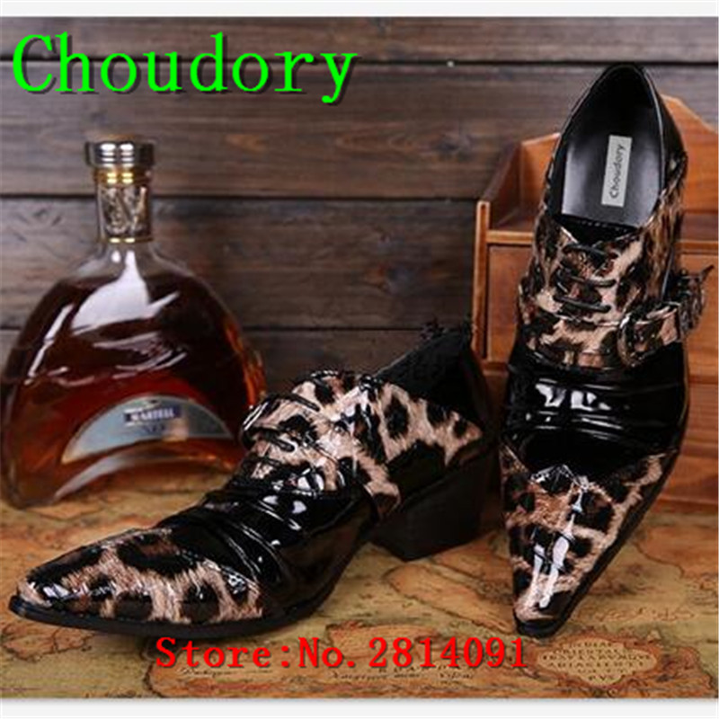 Choudory Height Increasing Lace-Up Solid Brogue Shoes Patent Leather Leopard Pointed Toe Men Casual Shoes Lace Up Mens Trainers