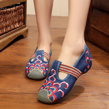 Catching Women Shoes Old Beijing Mary Jane Flats With Casual Shoes Chinese Style Embroidered Cloth Shoes Woman Plus Size 34-41