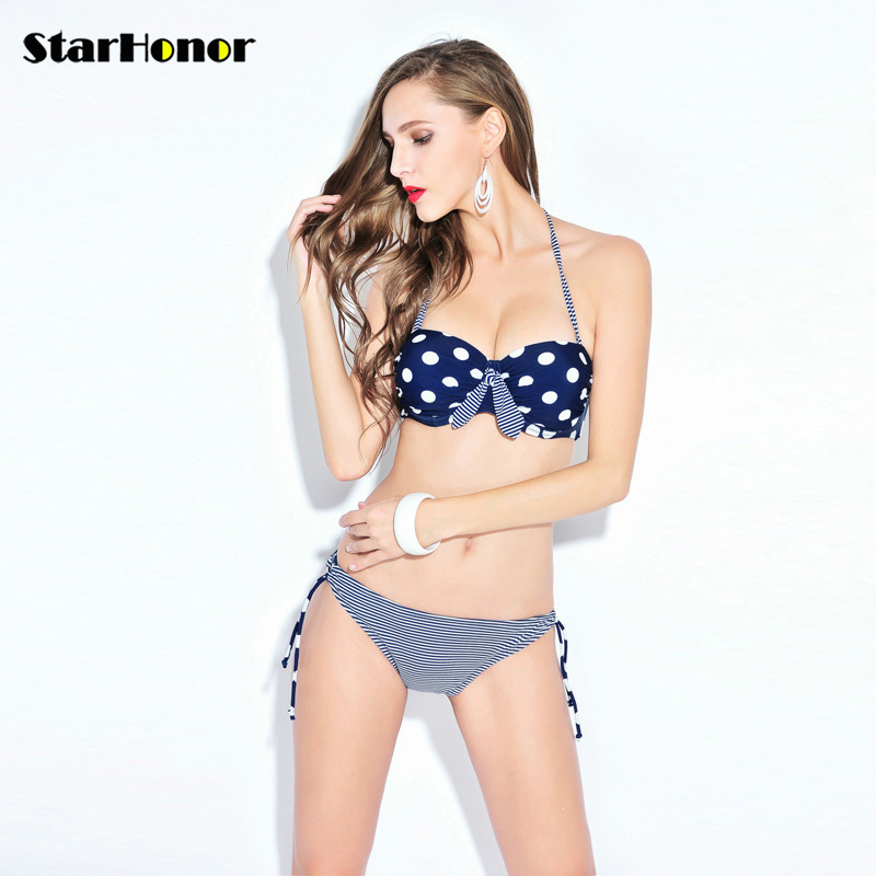 StarHonor Woman Strappy Biquini Polka Dot Swimsuit Retro Polka Dot Halter Two-piece Bikinis Set Push Up Bathing Suit Swimwear starhonor 2017 sexy woman print one piece suits swimwear retro halter swimsuit bandage biquini bikinis set push up bathing suit