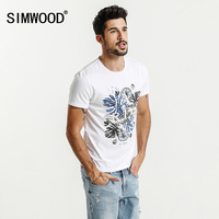 SIMWOOD 2017 Summer New T Shirt Men Print Fashion Floral Funny 100 Pure Cotton Slim Fit