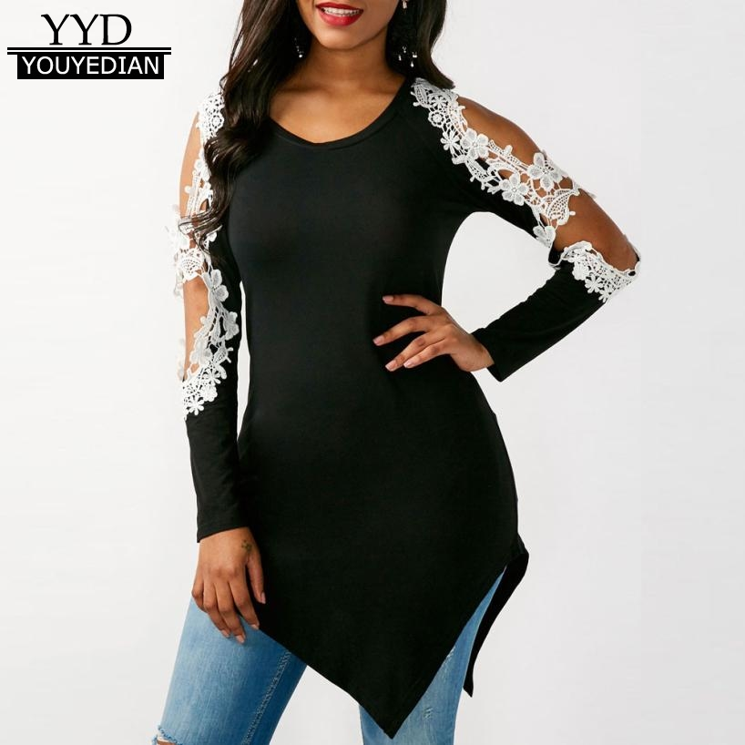 womens sexy lace patchwork t shirt long sleeve cold shoulder tshirt casual tops ladies irregular. Black Bedroom Furniture Sets. Home Design Ideas