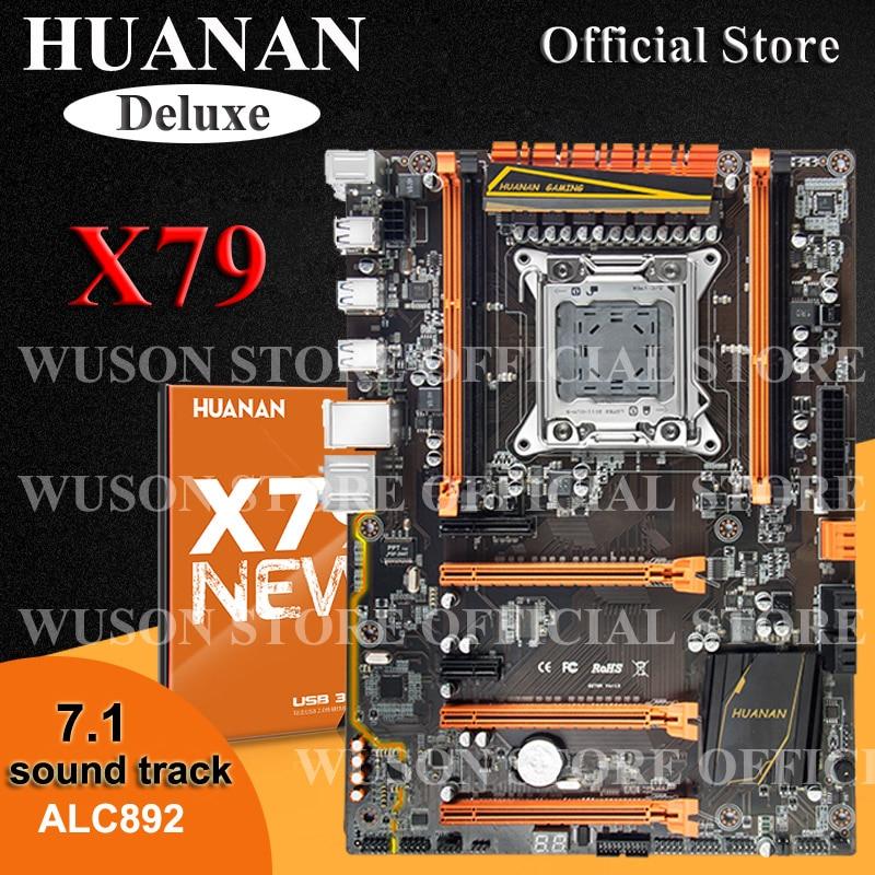 Vente chaude HUANAN Deluxe X79 mère LGA2011 3 * PCI-E x16 2 * SATA3.0 soutien 4*16G mémoire 7.1 sound track crossfire