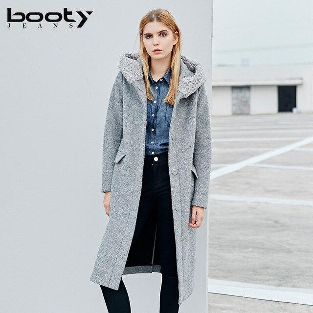 Vrouwen Wollen Bootyjeans Winter Hooded In Britse