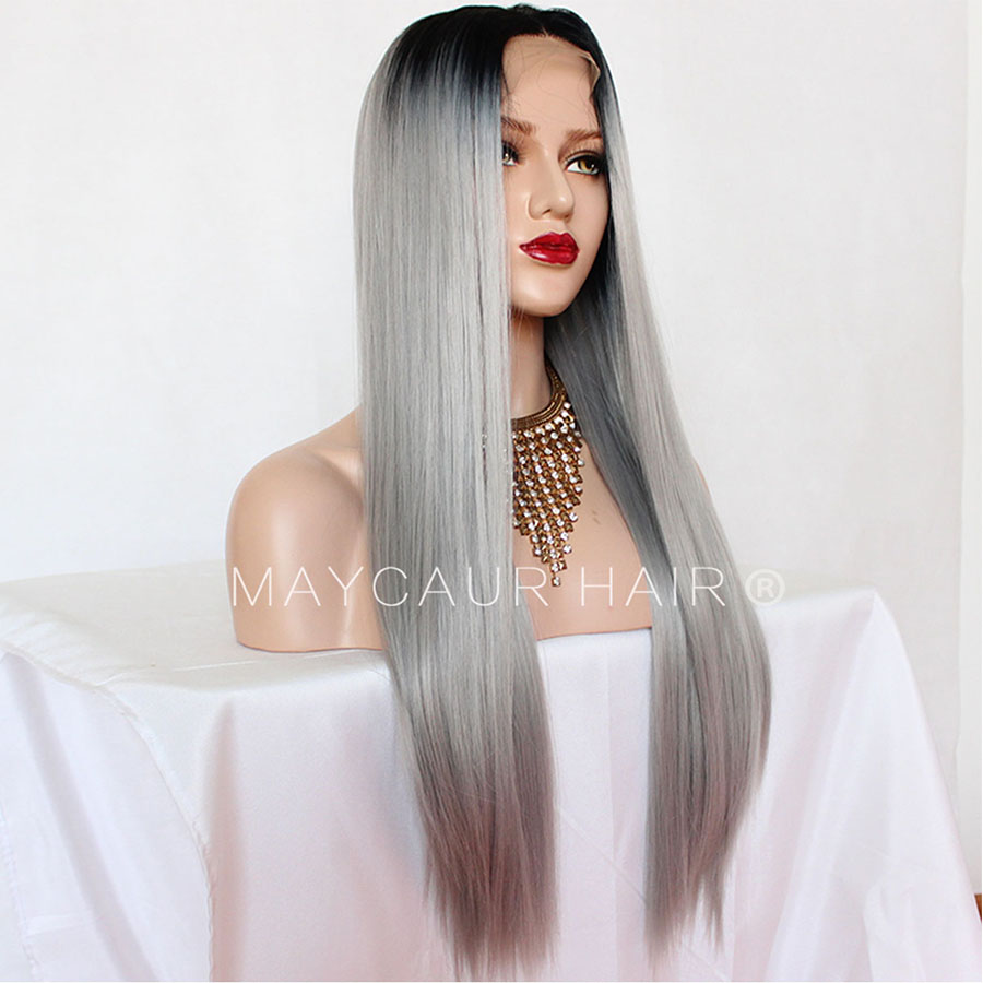 _0001_Maycaur 180 Density Gray Natural Straight  Synthetic Lace Front Wigs Black Grey Color Hair Natural Hairline (5)