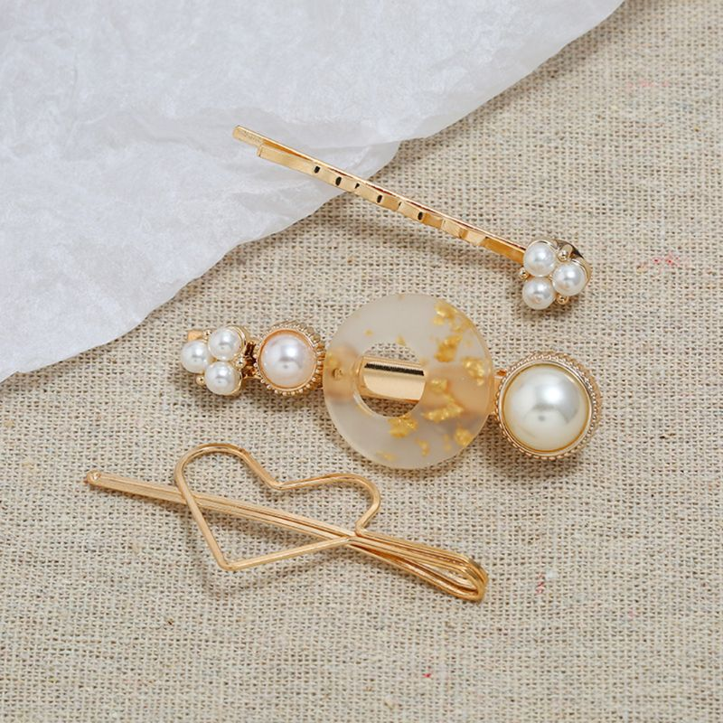 3Pcs Set Korean Metallic Gold Wavy Hairpin Women Hollow Heart Tin Foil Resin Hair Clip Imitation Pearl Hair Styling Accessories in Women 39 s Hair Accessories from Apparel Accessories