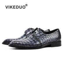 Vikeduo Classic Formal Footwear Man Fashion Style Genuine Crocodile Leather Derby Dress Shoes Plaid Handmade Mens Shoe Zapatos