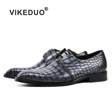 Vikeduo Classic Formal Footwear Man Fashion Style Genuine Crocodile Leather Derby Dress Shoes Plaid Handmade Men's Shoe Zapatos