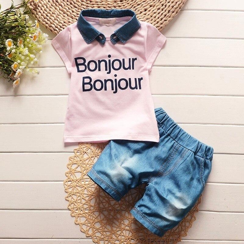 BibiCola baby boys summer denim lapel clothes kids letter short sleeve t shirt jean shorts suit children leisure clothing sets