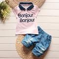 BibiCola denim solapa de verano de los bebés cabritos de la ropa carta camiseta de manga corta traje de pantalones cortos de jean niños ocio ropa conjuntos