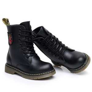 Image 3 - Girls Boys Ankle Boots Spring 2020 Genuine Leather Military Booties Black Non slip British Kids  Boots Zipper Unisex Shoe