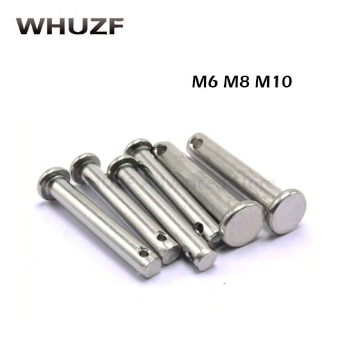 M6/M8/M10 Clevis Pins With Head 304 Stainless Steel Pin Shaft Flat Head Cylindrical Pin Positioning Pin