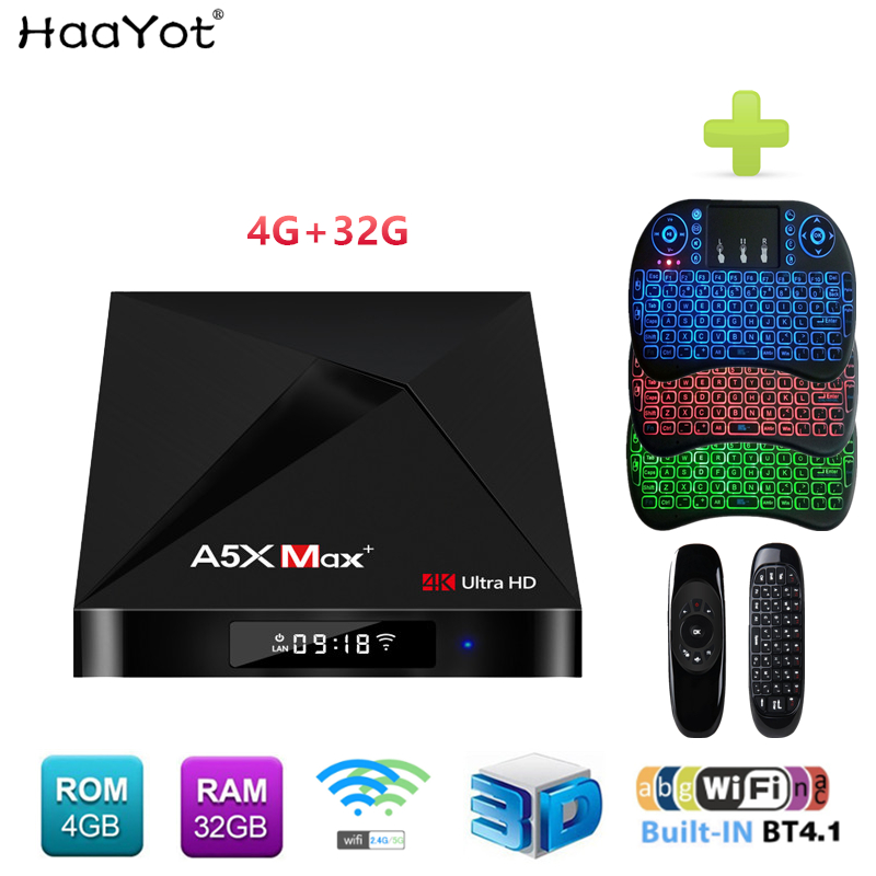HAAYOT A5X MAX+ Android 7.1 TV BOX RK3328 4GB RAM 32GB ROM Bluetooth V4.1 2.4G/5G Dual WiFi Super 4K Smart Set Top Box 3D Media  : 91lifestyle