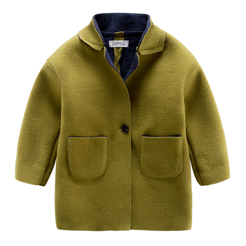 2016 new winter kids children single breasted coat collar baby boy with cashmere coat color