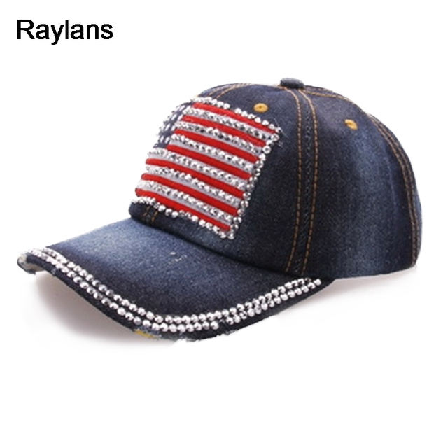 d3e3f3e14b1 Raylans Stylish Womens Men s Denim Rhinestone American Flag Baseball Cap  Adjustable Hats