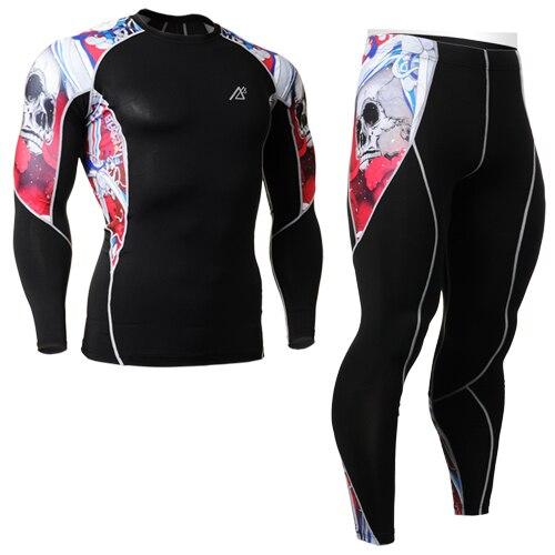 mens cycling base layer sets skull print sets elastic Outdoor wicking sports underwear set skulls printed set suits