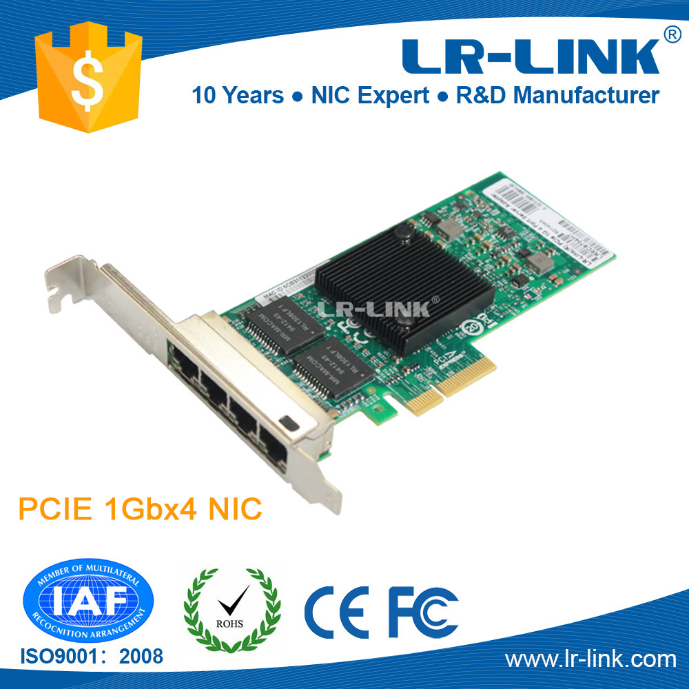 LR-LINK LREC9704HT Intel 82580 Chipset 10/100/1000Mbps PCIe x4 Quad 4 Port Network Interface Card Compatible with Intel I340-T4 сетевая карта lenovo thinkserver i350 t4 pcie 1gb 4 port base t ethernet adapter by intel 4xc0f28731 4xc0f28731