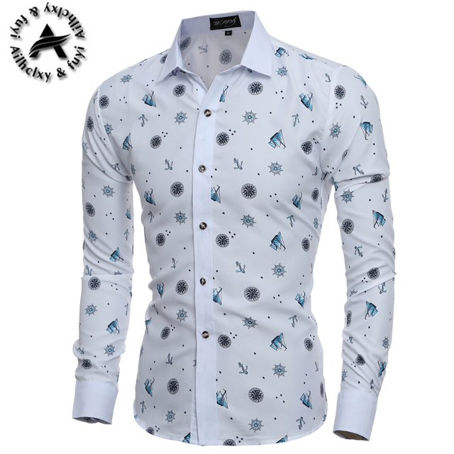 Mens Printed Casual Slim Fit Pattern Shirt M L XL XXL ZJ6O2q