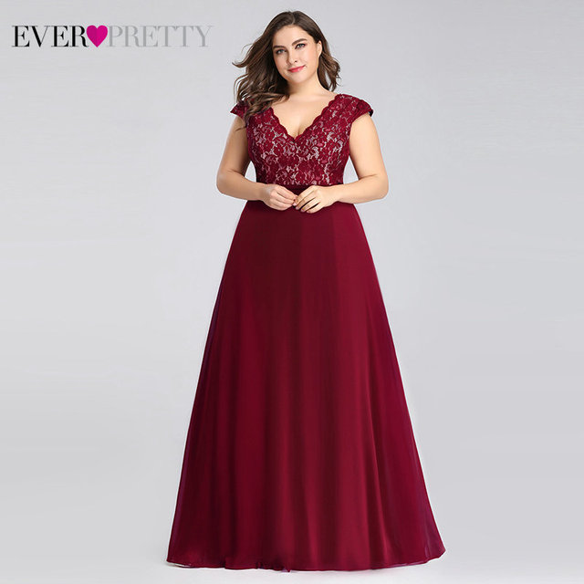 Plus Size Prom Dresses Long 2019 Ever Pretty EP07344 Elegant Burgundy A-line Sleeveless Lace Appliques V-neck Vestidos De Gala 2
