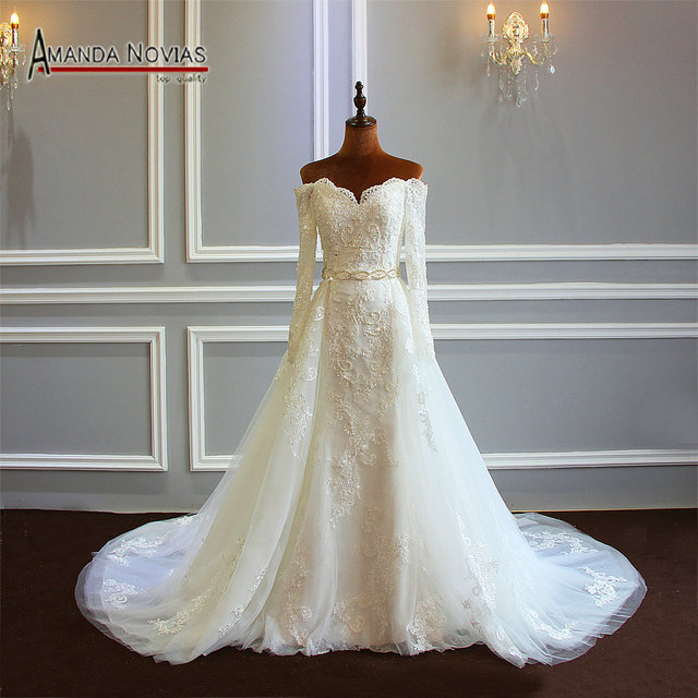 Robe Soiree 2019 Wedding Gown With Detachable Skirt Full Lace Sleeves Bridal Dress