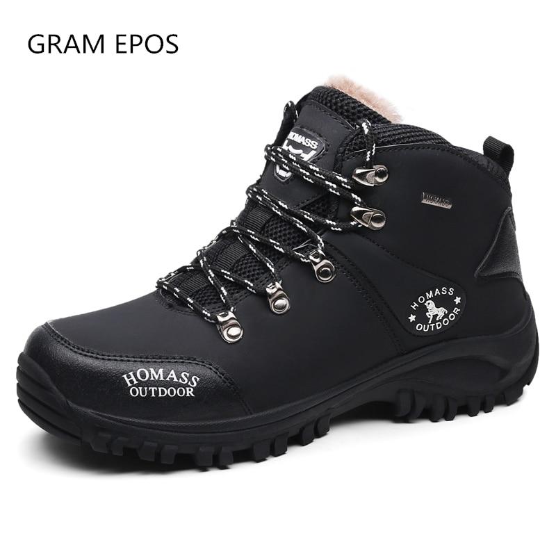 цена на New Men Autumn Winter Snow Boots Warm Fur Plush & no fur Lace Up High Top Fashion Men Shoes Sneakers Boots male ankle botas